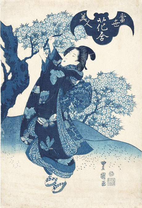 Utagawa Toyokuni II beauty gathering flowering cherry blossoms